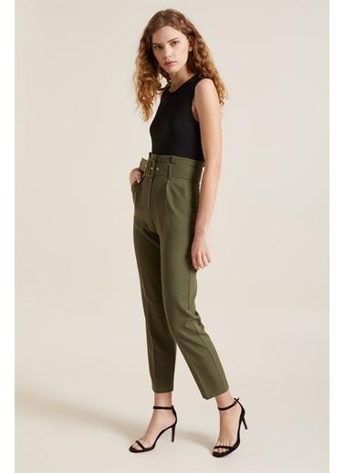 Z Giyim Kadın  Mavi  Kemerli Yüksek Bel Kumaş Pantolon Haki